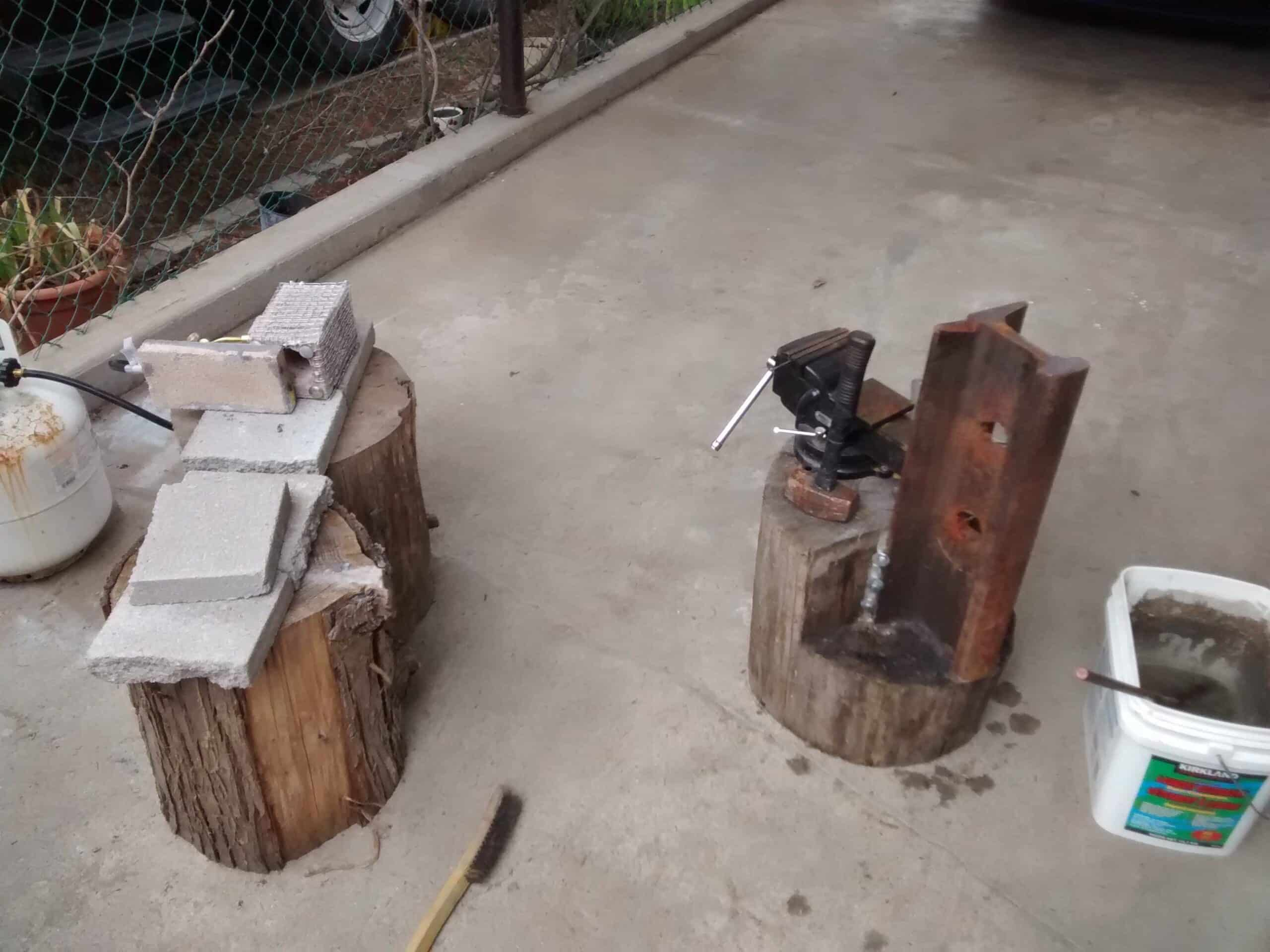 diy gas forge and railroad track post anvil