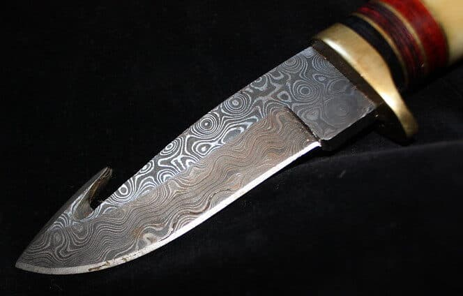 damascus gut hook hunting knife